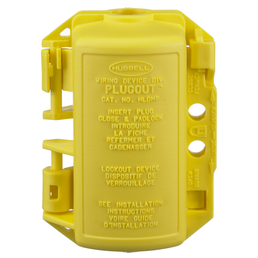 Twist-Lock® Devices, Accessories, PLUGOUT® Lockout device for 15A and 20A straight blade plugs, Yellow