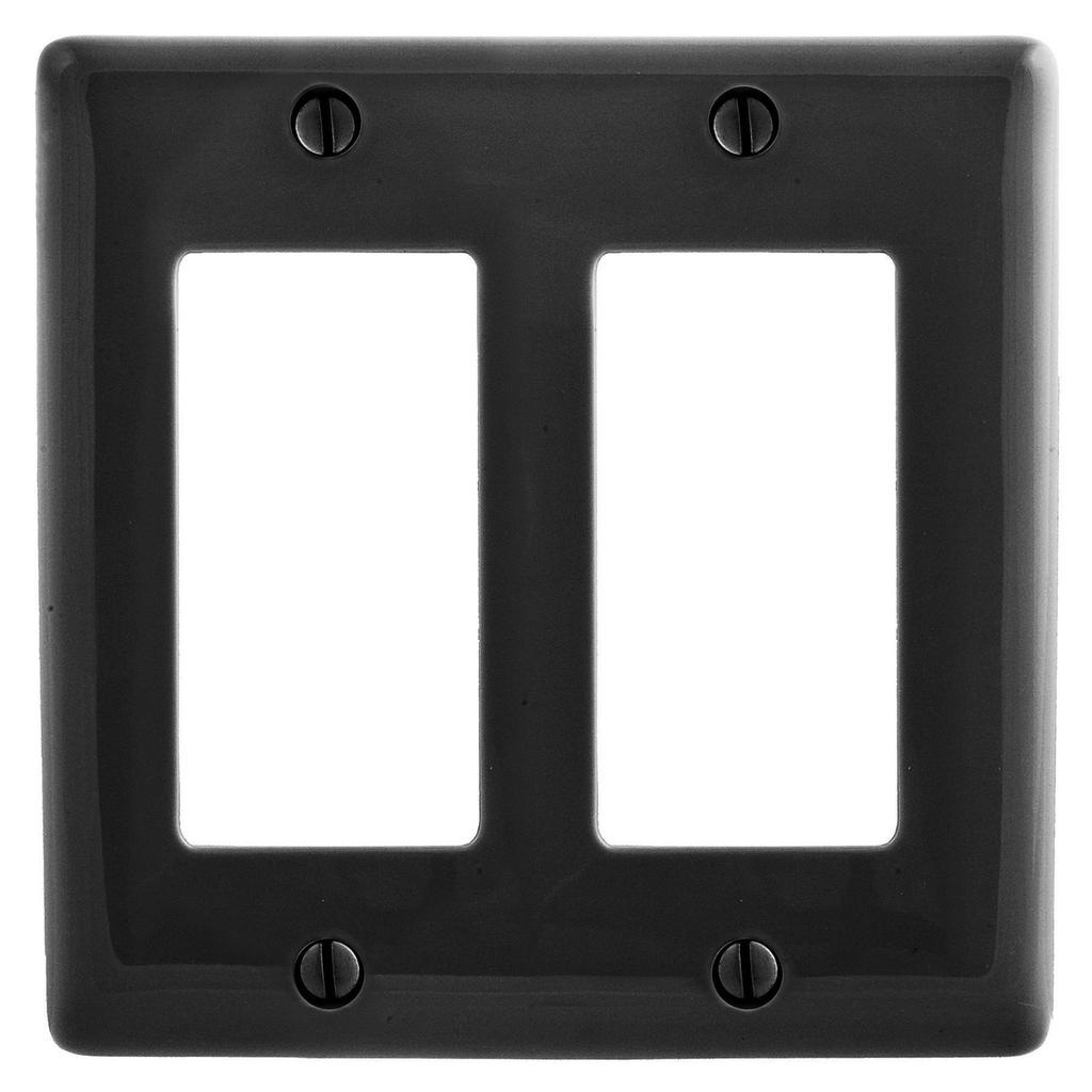 Mayer-Wallplates and Box Covers, Wallplate, Nylon, Mid-Sized, 2-Gang, 2) Decorator, Black-1