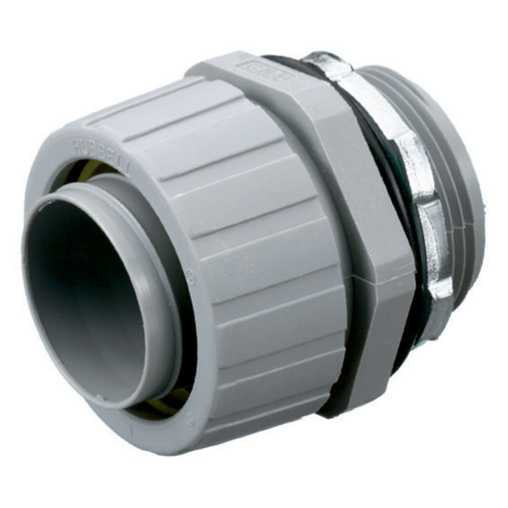 "Mayer-Kellems Wire Management, Liquidtight System, PolyTuff® Straight Male Liquid Tight Connector, 1 1/4"", Non-Metallic, Gray-1"