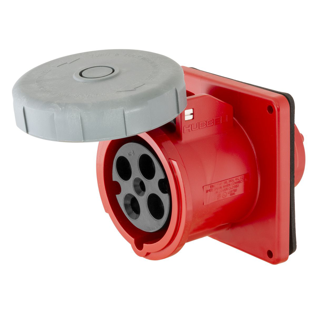 Mayer-Heavy Duty Products, IEC Pin and Sleeve Devices, Industrial Grade, Female Receptacle, 20A 3-Phase Delta 480V AC, 3-Pole 4-Wire Grounding, Terminal Screws, Red, Watertight-1