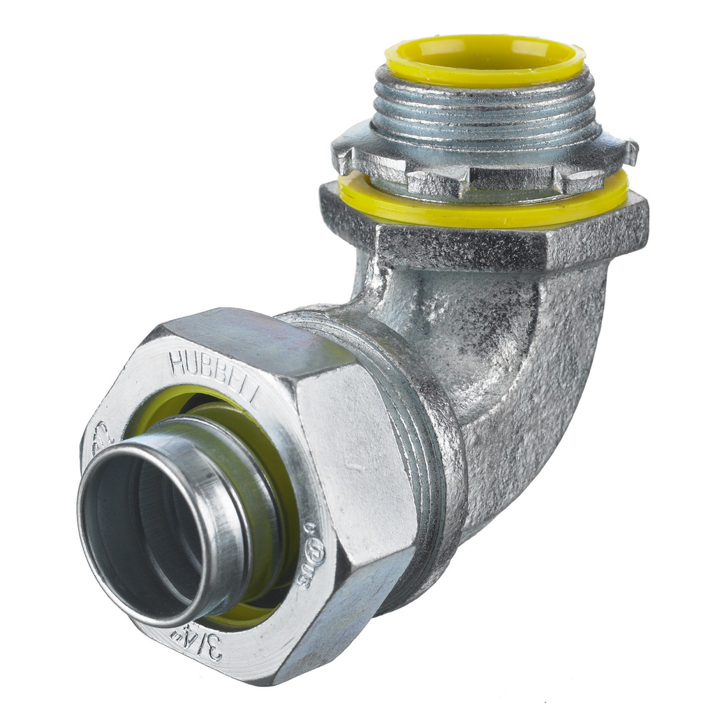 """Mayer-Kellems Wire Management, Liquidtight System, 90 Degree Male Liquid Tight Connector, 1/2"""", Steel, Insulated-1"""