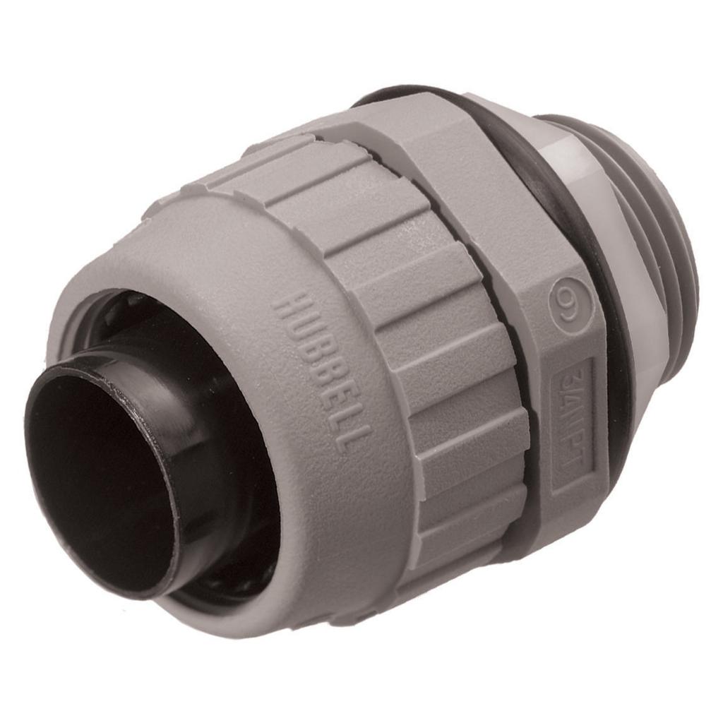 "Mayer-Kellems Wire Management, Liquidtight System, PolyTuff® Straight Male Liquid Tight Connector, 3/8"", Non-Metallic, Gray-1"