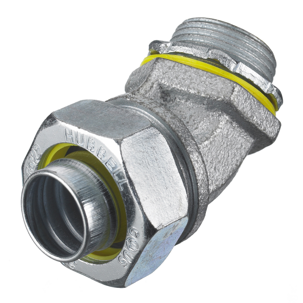 """Mayer-Kellems Wire Management, Liquidtight System, 45 Degree Male Liquid Tight Connector, 2"""", Steel, Non-Insulated-1"""