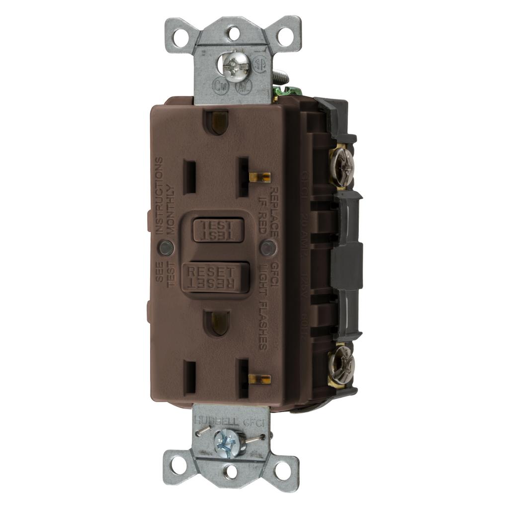Mayer-Heavy Duty Commercial AUTOGUARD® Self-Test GFCI Receptacle, 20A, Brown-1