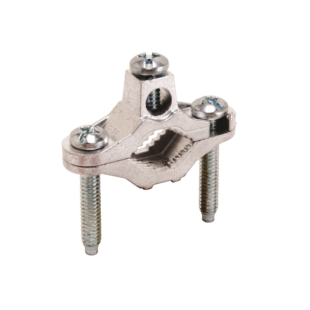 """Mayer-Grounding Clamp, Cable to Water Pipe, 10 - 2 AWG, 1/2"""" - 1"""" Water Pipe, W/ zinc plated screws-1"""