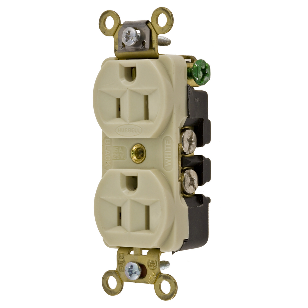 Mayer-Hubbell Wiring Device Kellems, Straight Blade Devices, Receptacles, Duplex, Industrial Grade, 2-Pole 3-Wire Grounding, 15A 125V, 5-15R, Ivory, Single Pack-1