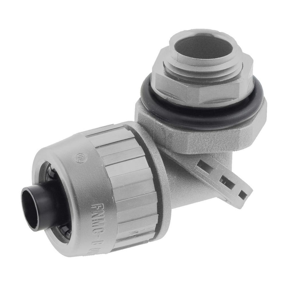 "Mayer-Kellems Wire Management, Liquidtight System, SwivelLok® Multi-Position Male Liquid Tight Connector, 3/8"", Non-Metallic, Gray-1"