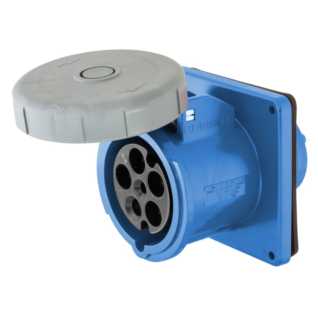 Mayer-Heavy Duty Products, IEC Pin and Sleeve Devices, Industrial Grade, Female Receptacle, 60A 3-Phase Wye 120/208V AC, 4-Pole 5-Wire Grounding, Terminal Screws, Blue, Watertight-1
