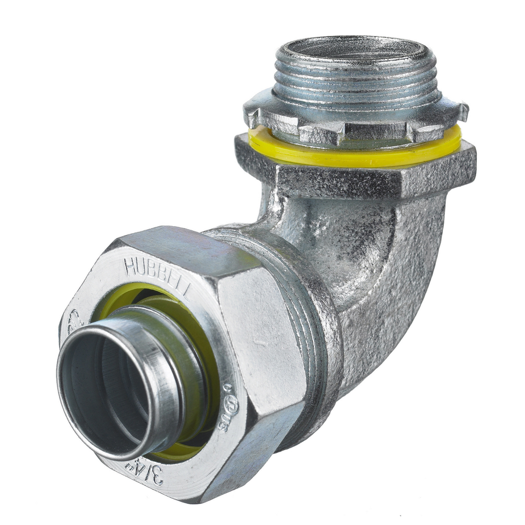 """Mayer-Kellems Wire Management, Liquidtight System, 90 Degree Male Liquid Tight Connector, 1 1/4"""", Steel, Non-Insulated-1"""