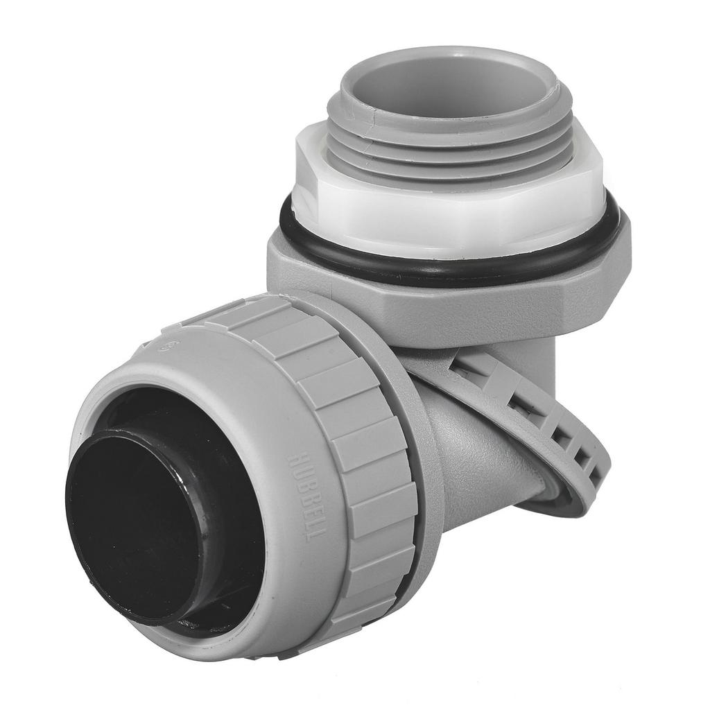 "Mayer-Kellems Wire Management, Liquidtight System, SwivelLok® Multi-Position Male Liquid Tight Connector, 1"", Non-Metallic, Gray-1"