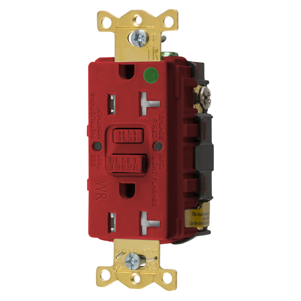 Mayer-Heavy Duty Hospital Grade Tamper-Resistant/Weather Resistant AUTOGUARD® Self-Test GFCI Receptacle, 20A, Red-1