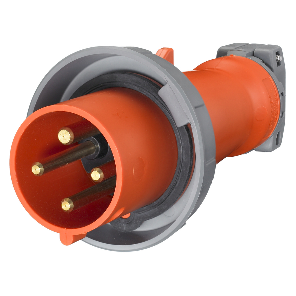 Mayer-Heavy Duty Products, IEC Pin and Sleeve Devices, Industrial Grade, Male, Plug, 30A 125/250V, 3-Pole 4-Wire Grounding, Terminal Screws, Orange, Watertight-1