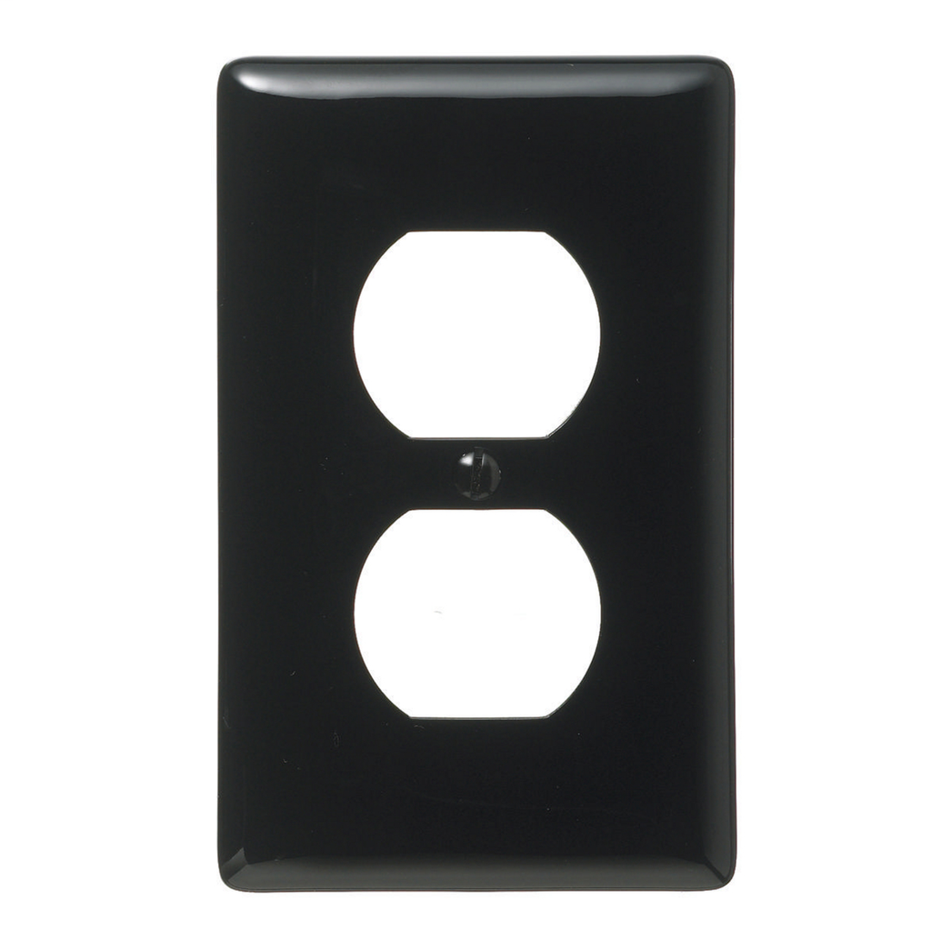 Mayer-Wallplates and Box Covers, Wallplate, Nylon, 1-Gang, 1) Duplex, Black-1