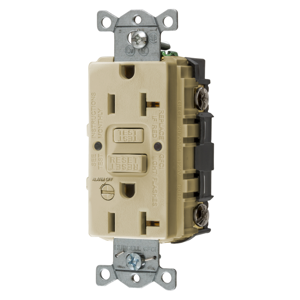 Mayer-Heavy Duty Commercial AUTOGUARD® Self-Test GFCI Receptacle with Alarm, 20A, Ivory-1