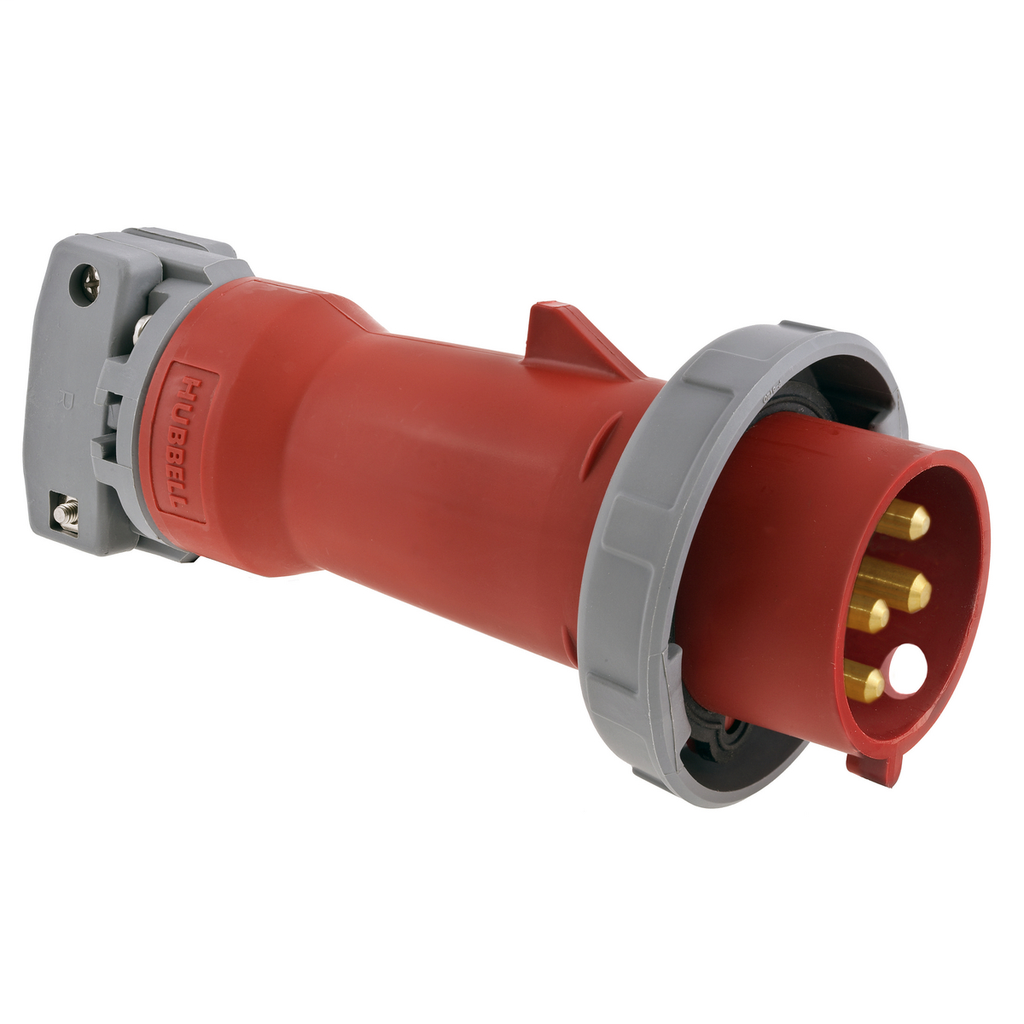 Mayer-Heavy Duty Products, IEC Pin and Sleeve Devices, Industrial Grade, MalePlug, 20A 3-Phase Delta 480V AC, 3-Pole 4-Wire Grounding, Terminal Screws, Red, Watertight-1