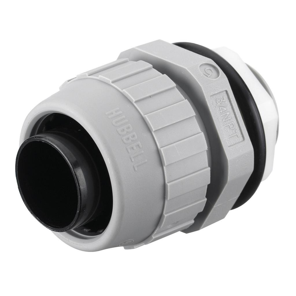 "Mayer-Kellems Wire Management, Liquidtight System, PolyTuff® Straight Male, Liquid Tight Connector, 3/4"", Non-Metallic, Gray-1"
