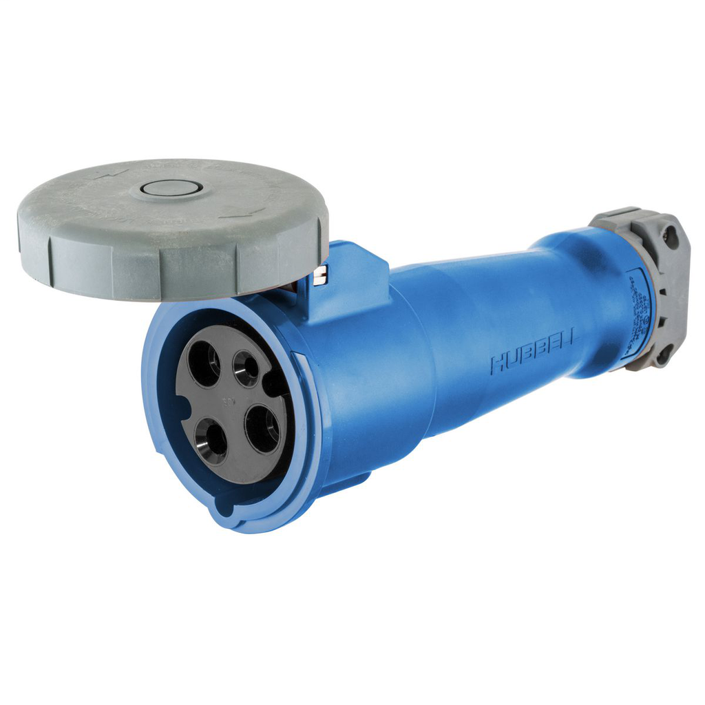Mayer-Heavy Duty Products, IEC Pin and Sleeve Devices, Industrial Grade, Female, Connector Body, 60A 250V AC, 2-Pole 3-Wire Grounding, Terminal Screws, Blue, Watertight-1