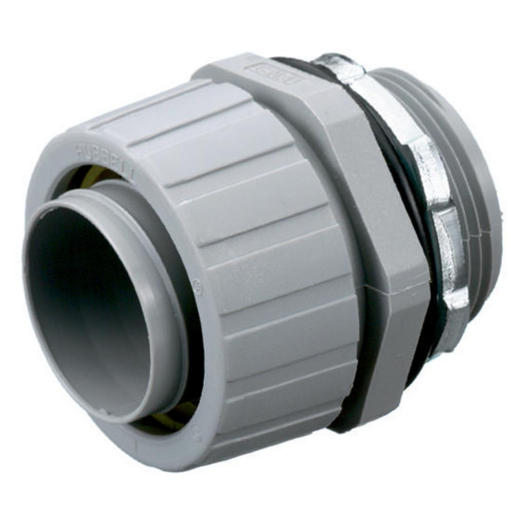 "Mayer-Kellems Wire Management, Liquidtight System, PolyTuff® Straight Male Liquid Tight Connector, 1"", Non-Metallic, Gray-1"
