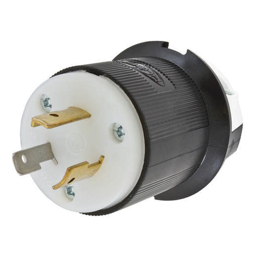 Mayer-Locking Devices, Twist-Lock®, Industrial, Male Plug, 20A 125V, 2-Pole 3-Wire Grounding, L5-20P, Screw Terminal, Black and White-1