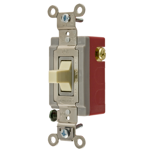 Mayer-Switches and Lighting Controls, Industrial Grade, Toggle Switches, General Purpose AC, Momentary Single Pole Double Throw Center Off, 20A 120/277V AC, Terminal Screws, Ivory Toggle-1