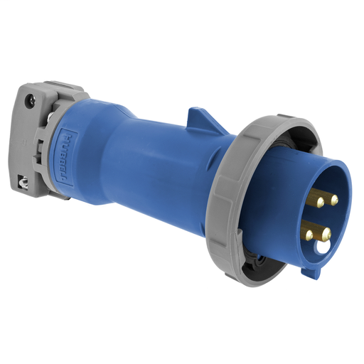 Mayer-Heavy Duty Products, IEC Pin and Sleeve Devices, Industrial Grade, Male, Plug, 60A 3-Phase Delta 250V AC, 3-Pole 4-Wire Grounding, Terminal Screws, Blue, Watertight-1