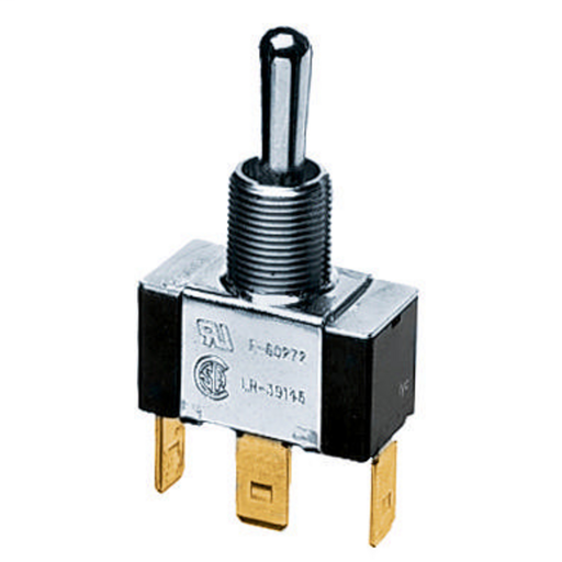 Mayer-Switches and Lighting Controls, Commercial Grade, Panel Mount and Specialty Switches, Bat Handle Switches, Single Pole Double Throw Center Off, 10A 250V/10A 125V,-1