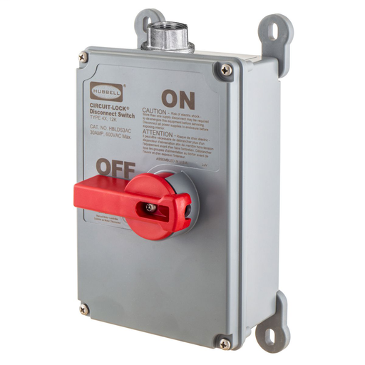 Mayer-Switches and Lighting Controls, Industrial Grade, Variable Frequency Drive, Disconnect Switches, Unfused Switch, Three Pole, 30A 600V AC, Screw Terminals, Gray, NEMA-1