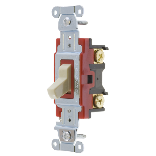 Mayer-Switches and Lighting Controls, Hubbell- PRO Series, ToggleSwitches, General Purpose AC, Four Way, 20A 120/277V AC, Back and SideWired, Ivory-1