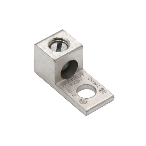 "Mayer-Aluminum Universal Terminal, 1 Hole, 14-6 AWG (Str), 1/4"" Stud, 1 Screw, Al/Cu Rated, Tin Plated-1"