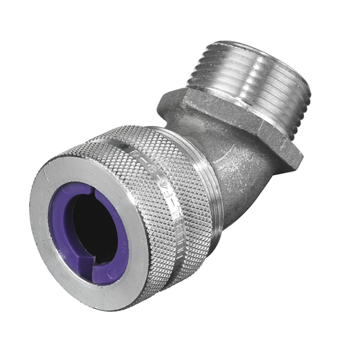 """Mayer-Kellems Wire Management, Cord Connectors, 45 Degree Male, .75-.88"""", 1"""", Aluminum-1"""