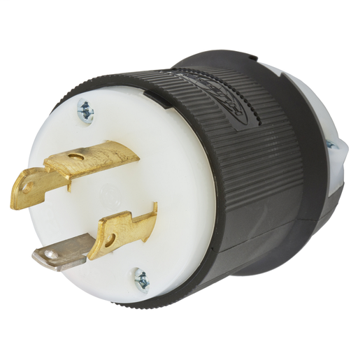 Mayer-Locking Devices, Twist-Lock®, Industrial, Male Plug, 30A 125/250V, 3-Pole 4-Wire Grounding, L14-30P, Screw Terminal, Black and White-1
