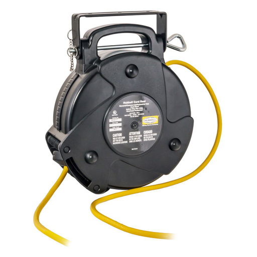 Mayer-Cord and Cable Reels, Commercial Cord Reel, 40', 15A 125V with Tap, Yellow-1