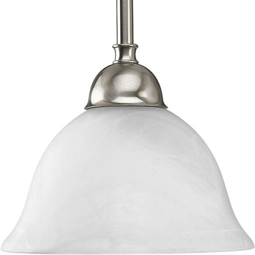 Mayer-Avalon Collection One-Light Brushed Nickel Alabaster Glass Traditional Mini-Pendant Light-1