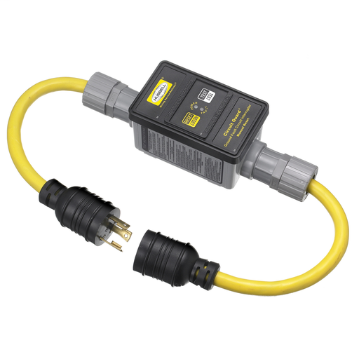 Power Protection Products, GFCI Linecords, Commercial, Manual Set, 30A 125V, L5-30R, 25' Cord Length, Triple Tap, Yellow