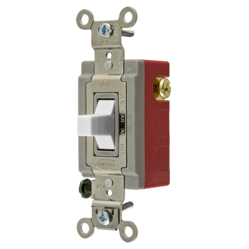 Mayer-Switches and Lighting Controls, Industrial Grade, Toggle Switches, General Purpose AC, Momentary Single Pole Double Throw Center Off, 20A 120/277V AC, Terminal Screws, White Toggle-1