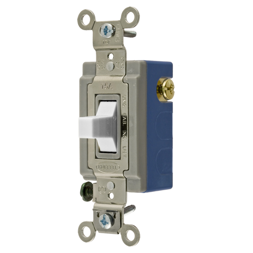 Mayer-Switches and Lighting Controls, Industrial Grade, Toggle Switches, General Purpose AC, Momentary Single Pole Double Throw Center Off, 15A 120/277V AC, Terminal Screws, White Toggle-1