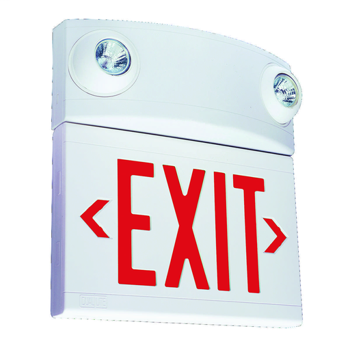LT Series desiner combination exit/emergency light, Mounting Type: ceiling or wall mount, Face style: Universal Single/ Double Face, Wording On Sign: EXIT, Letter Color: red, Color: white, Number of Lamps: 2, Operation: emergency operation, Battery Type: