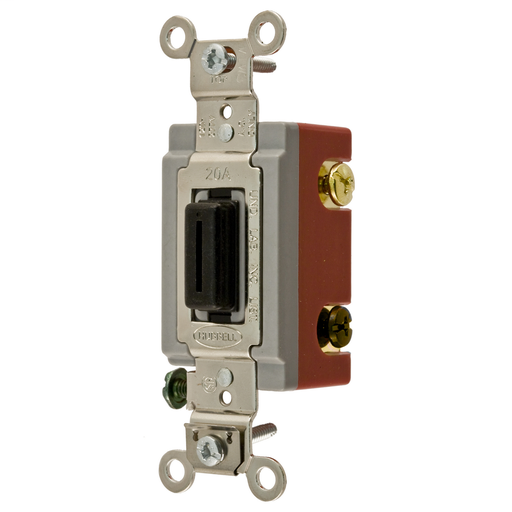 Mayer-Switches and Lighting Controls,Extra Heavy Duty Industrial Grade, Locking Toggle Switches, General Purpose AC, Three Way, 20A 120/277V AC, Back and Side Wired, Black Key Guide-1