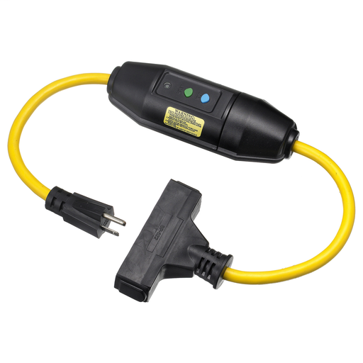 Mayer-Power Protection Products, GFCI Linecords, Commercial, Manual Set, 15A125V, 5-15R, 25' Cord Length, Triple Tap, Yellow.-1