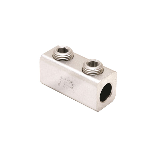 "Mayer-Aluminum Mechanical Splice, 250 kcmil-6 AWG, 5/8"" Screw Dia, 4 Screws, 5/16"" Hex Size, Al/Cu Rated, Tin Plated-1"
