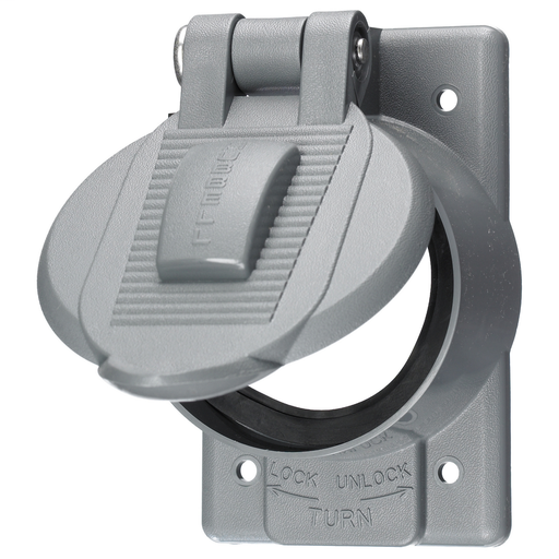 Mayer-Wallplates and Boxes, Weatherproof Covers, 1-Gang, 1) 50A Twist-Lock® Opening, Standard Size, Thermoplastic-1