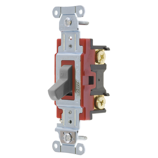 Mayer-Switches and Lighting Controls, Hubbell- PRO Series, Toggle Switches, General Purpose AC, Double Pole, 20A 120/277V AC, Back and Side Wired, Gray-1