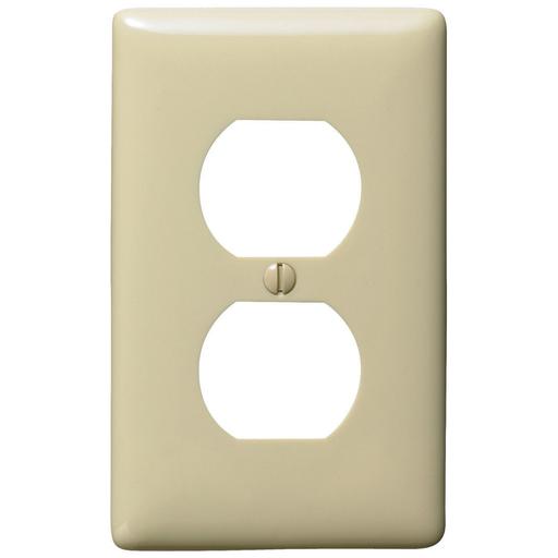 Mayer-Wallplates and Box Covers, Wallplate, Nylon, Mid-Sized, 1-Gang, 1) Duplex, Ivory-1