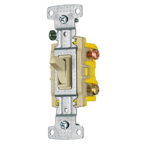 Mayer-TradeSelect, Switches and Lighting Controls, Residential Grade, Toggle Switches, Three Way, 15A 120V AC, Ivory-1