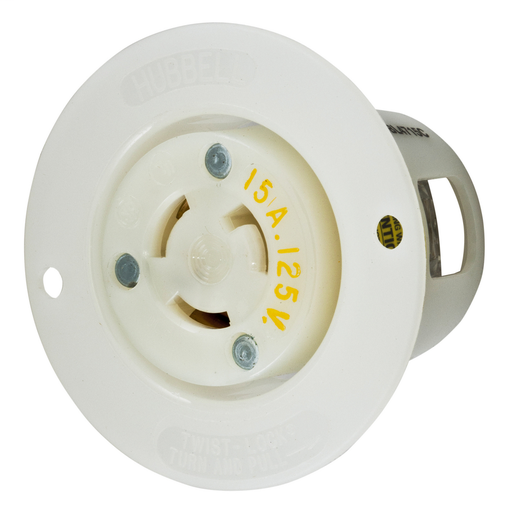 Mayer-Locking Devices, Twist-Lock®, Industrial, Flanged Receptacle, 15A 125V, 2-Pole 3-Wire Grounding, L5-15R, Screw Terminal, White-1