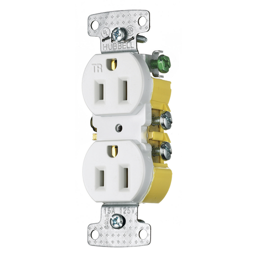 Mayer-TradeSelect, Straight Blade Devices, Residential Grade, Receptacles, Tamper Resistant Duplex, 15A 125V, 2- Pole 3-Wire Grounding, 5-15R, Self Grounding, White-1
