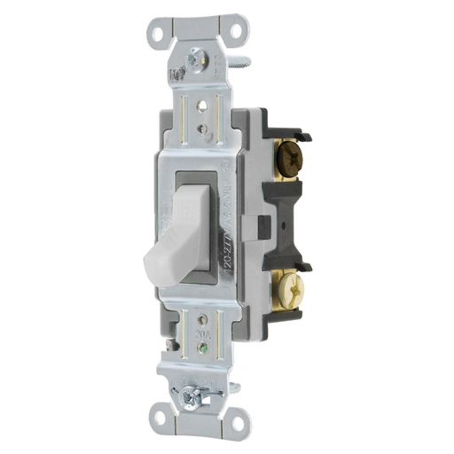 Mayer-Switches and Lighting Controls, Toggle Switch, Commercial Grade, Three Way, 20A 120/277V AC, Side Wired, White Toggle-1