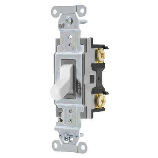 Mayer-Switches and Lighting Controls, Toggle Switch, Commercial Grade, Single Pole, 20A 120/277V AC, Side Wired, White Toggle-1