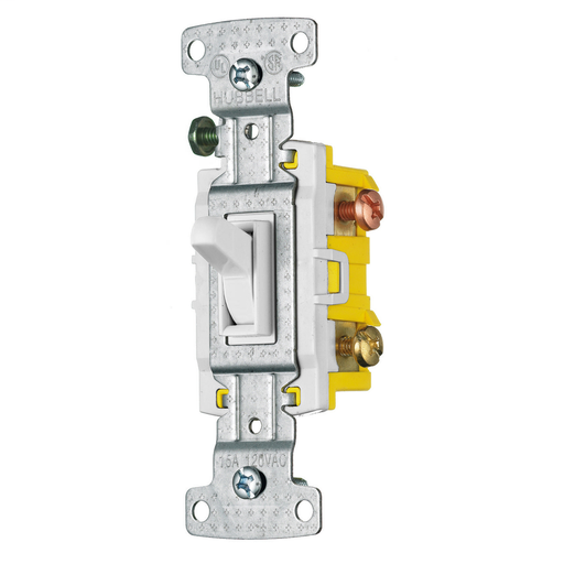 Mayer-TradeSelect, Switches and Lighting Controls, Residential Grade, Toggle Switches, Three Way, 15A 120V AC, White-1