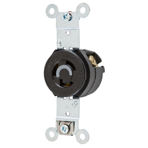 Mayer-Locking Devices, Twist-Lock®, Industrial, Flush Receptacle, 15A 277V AC, 2-Pole 3-Wire Grounding, L7-15R, Screw Terminal, Brown-1